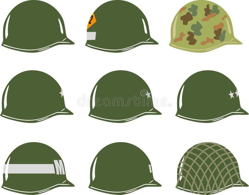 USA M1 wojska hełmy WW2 royalty ilustracja