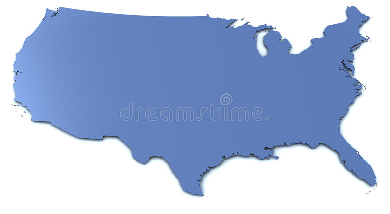 USA Map. Very large rendering of a US map with slight shadow on white background