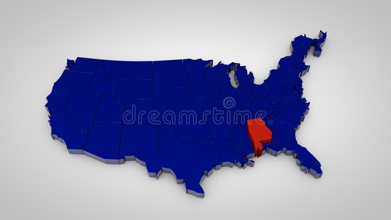 Usa map with alabama map highlited 3d render royalty free illustration