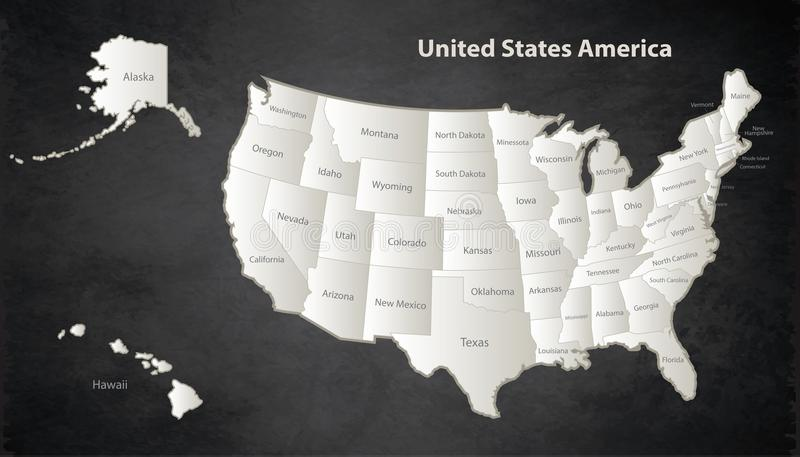 USA map with Alaska and Hawaii map Black White separate individual blackboard. USA map with Alaska and Hawaii map Black White separate states individual names royalty free illustration