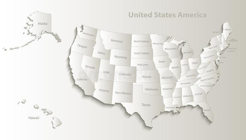 USA map with Alaska and Hawaii map separate individual card paper 3D natural. USA map with Alaska and Hawaii map separate states individual names card paper 3D stock illustration