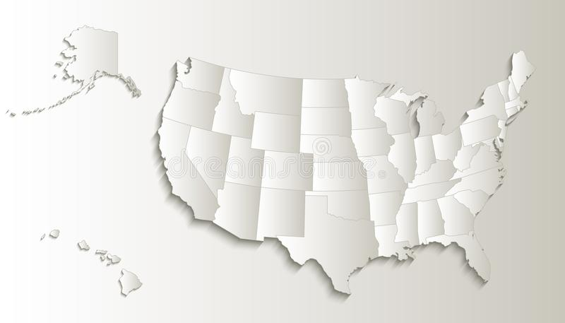 USA Map With Alaska And Hawaii Map Separate States Individual Blank ...