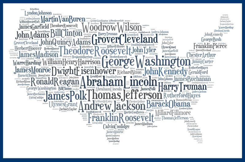 USA map american presidents royalty free illustration