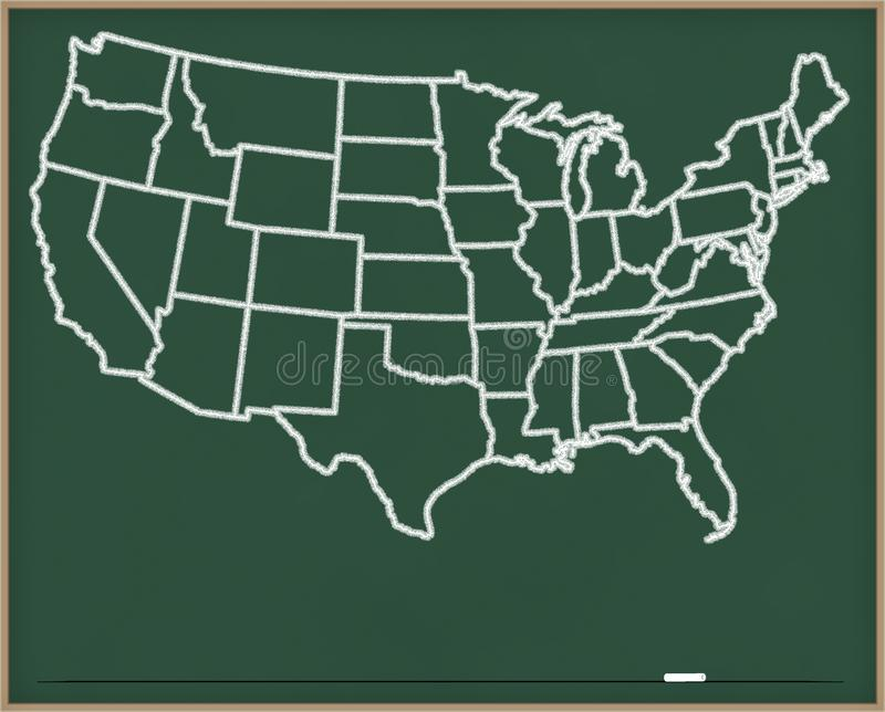USA Map on Chalk Board royalty free illustration