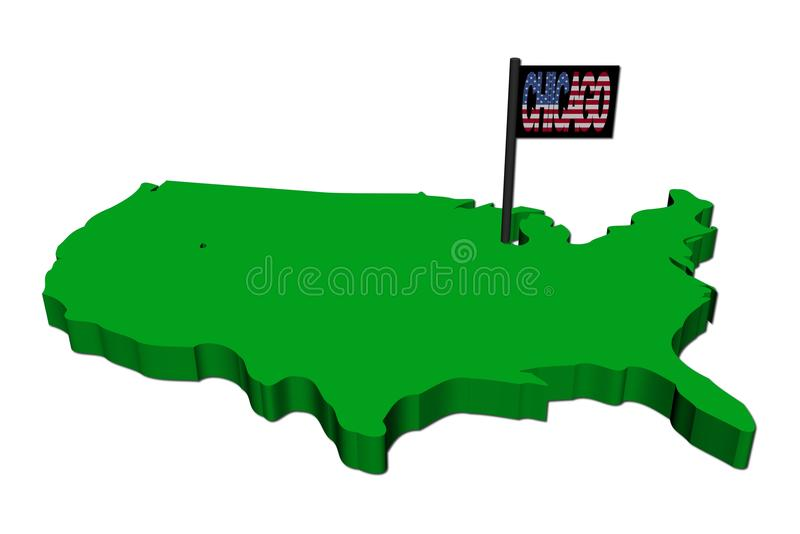 USA map With Chicago Text stock illustration