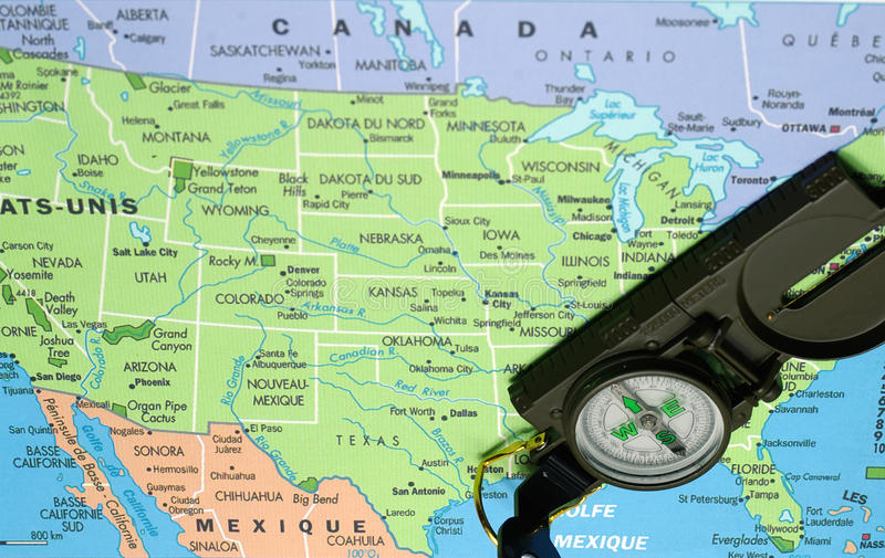 Download USA map and compass stock photo. Image of south, north - 36043524