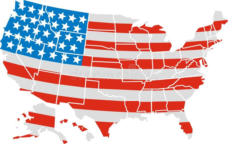 USA map and flag stock illustration