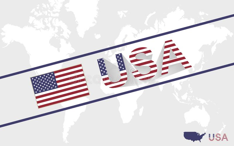USA map flag and text illustration stock illustration