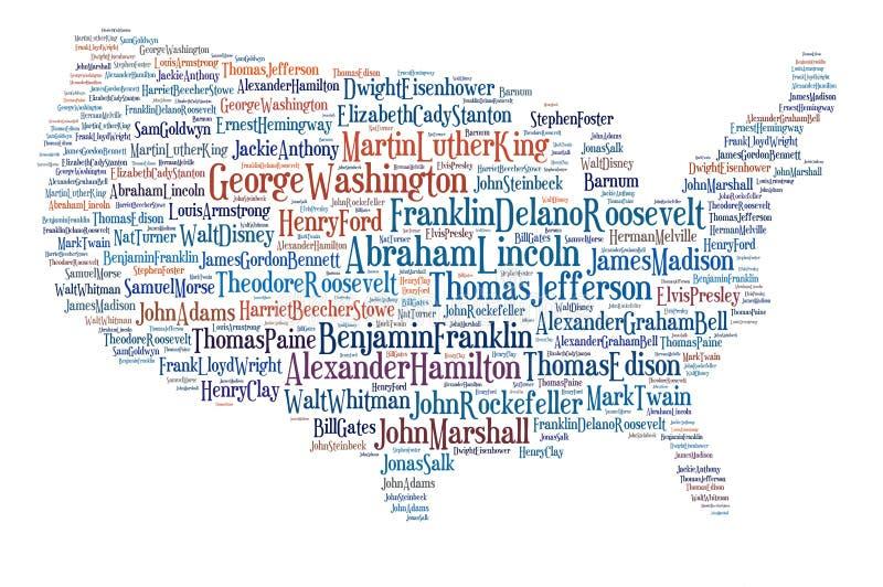 Usa map great people. stock photos