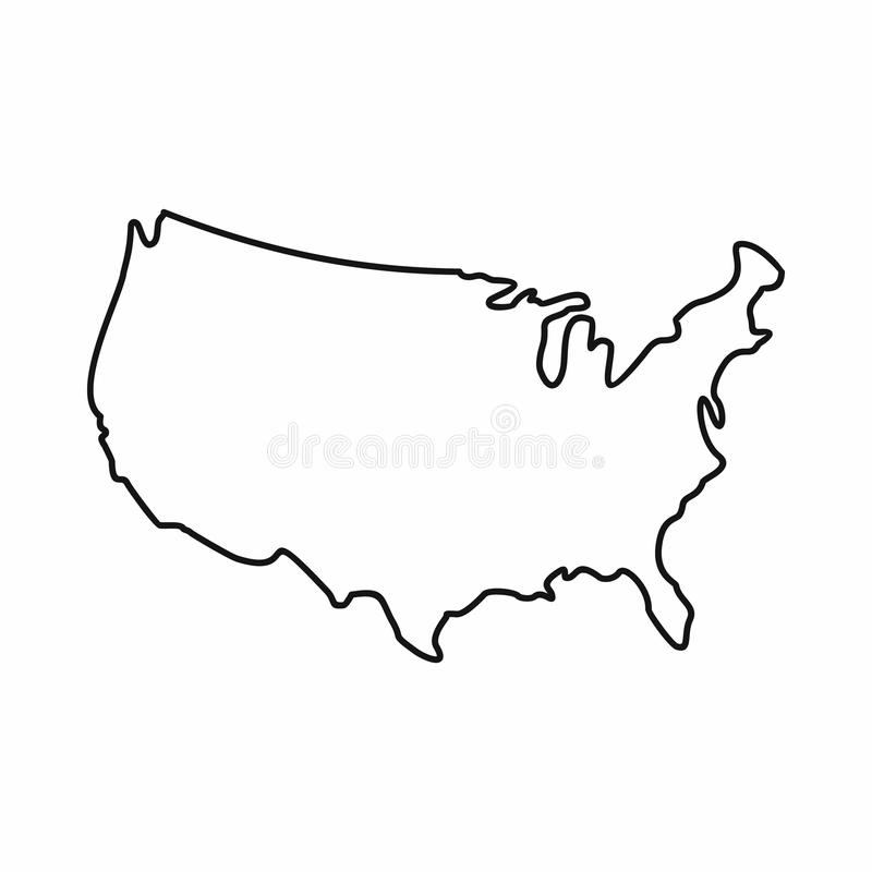 USA map icon, outline style. USA map icon in outline style isolated on white background stock illustration