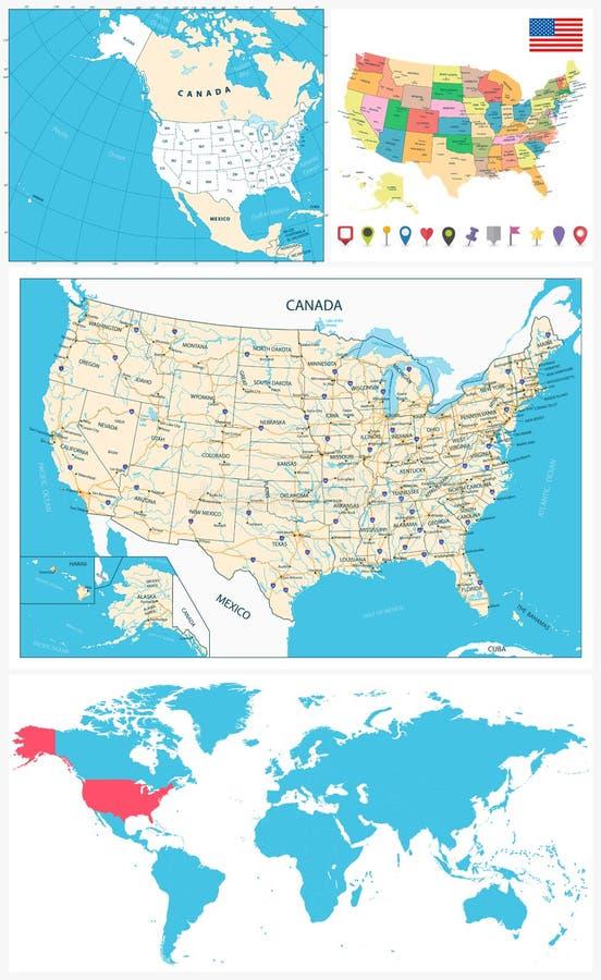 USA map kolekci nawigaci wielki set ilustracja wektor