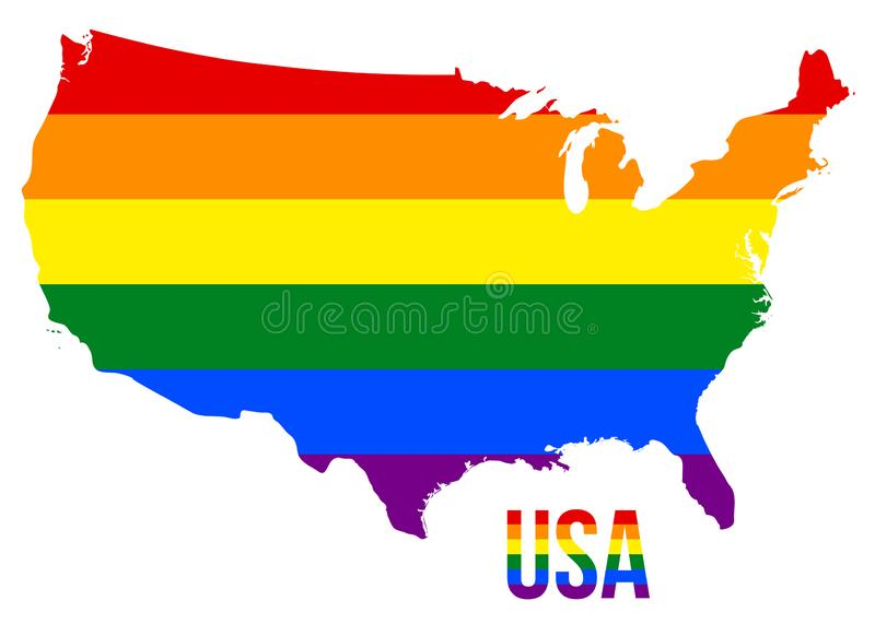 USA Map in LGBT Rainbow Flag Comprised Six Stripes With USA LGBT Text stock illustration