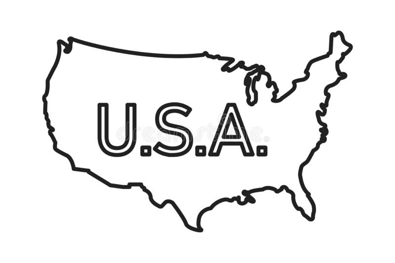 USA map linear illustration. Vector isolated illustration. Silhouette symbol. Vector contour drawing. Usa map icon line symbol. EPS 10 royalty free illustration