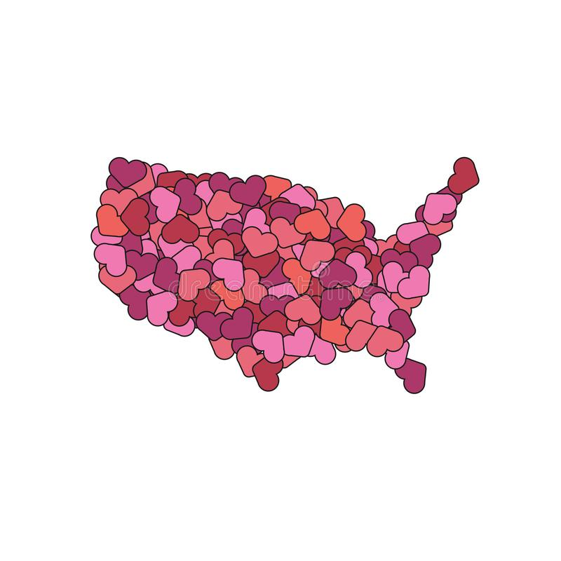 USA map made of hearts. America of love. World peace concept stock illustration