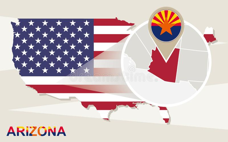 USA map with magnified Arizona State. Arizona flag and map vector illustration