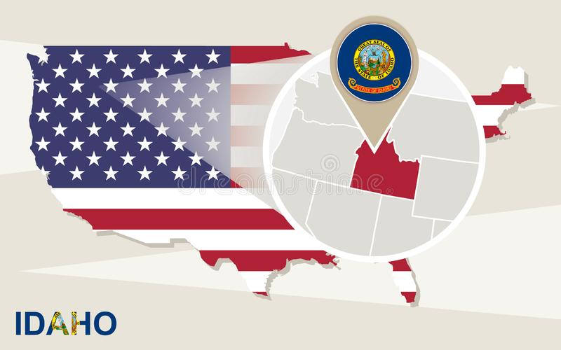 USA map with magnified Idaho State. Idaho flag and map royalty free illustration