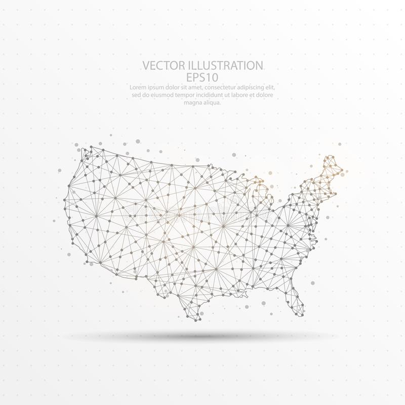 USA map low poly wire frame on white background. USA map mark point, abstract mesh line and composition digitally drawn starry sky or space in the form of stock illustration