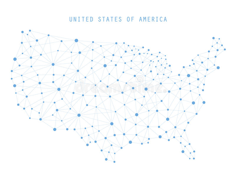 USA Map Network Connections, Vector illustration. USA Map Network Connections Concept, Vector illustration stock illustration