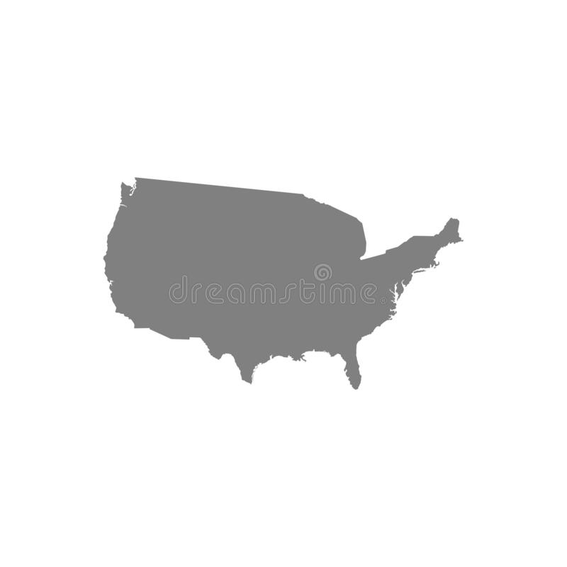 USA map silhouette for your design. High detailed map of the United States of America on white background. Vector illustration. stock illustration
