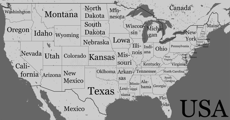 USA Map With State Boundaries And Names Blank Black Contour Iso