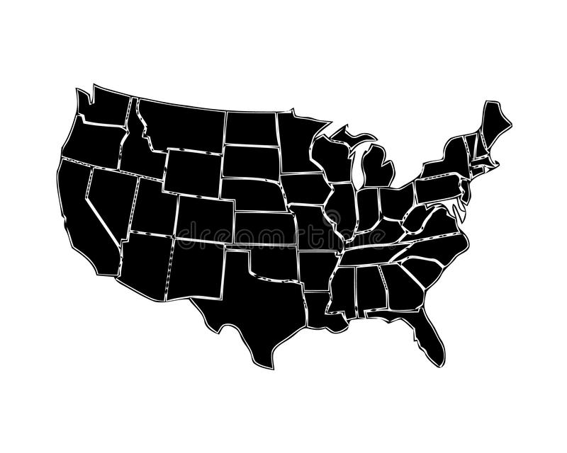 USA map with states isolated on a white background. United States of America map. Vector illustration royalty free illustration