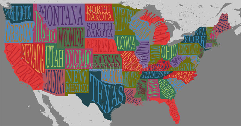 USA Map With States Pictorial Geographical Poster Of America Stock