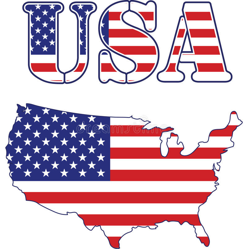 Download USA map and text Flag stock vector. Image of flying, power - 7196738
