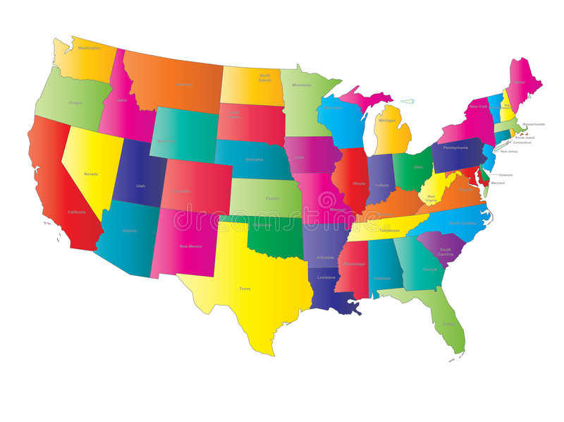 USA map vector. With names of states stock illustration