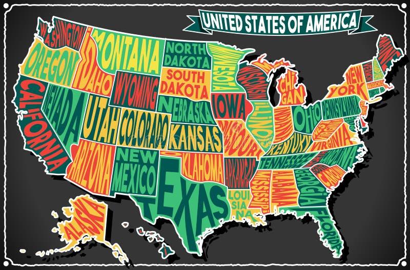 USA Map Vintage Blackboard 2D. Detailed illustration of a United States of America on Vintage Handwriting BlackBoard vector illustration