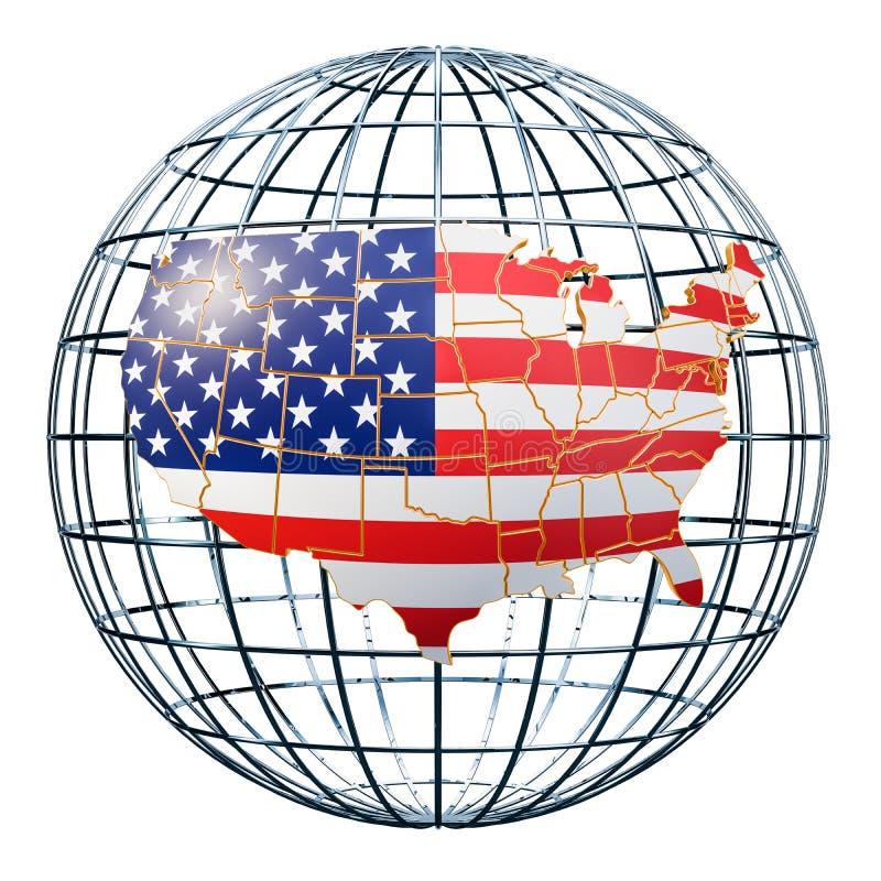 Usa mapa na Ziemskiej kuli ziemskiej świadczenia 3 d ilustracji