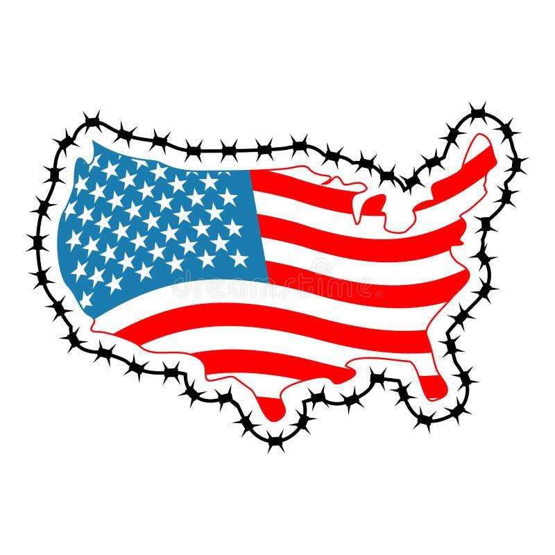 USA mapa z drutem kolczastym Ameryka zakończeń granica w związku z im royalty ilustracja