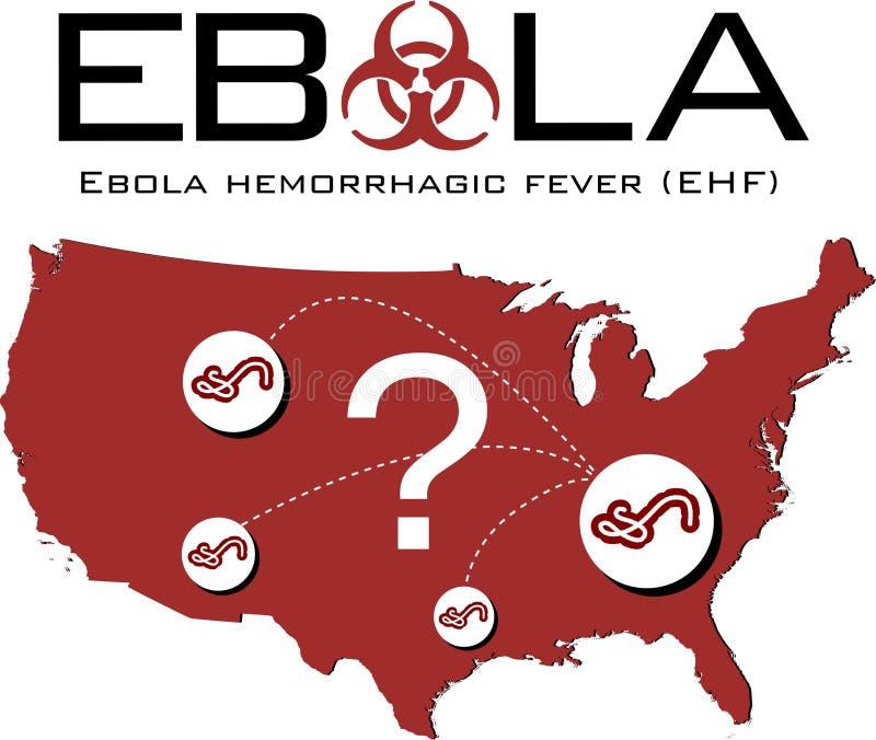 USA mapa z ebola tekstem, biohazard symbolem i znakiem zapytania, royalty ilustracja