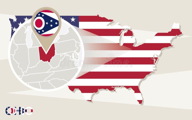 USA mapa z powiększającym Ohio stanem Ohio mapa i flaga royalty ilustracja
