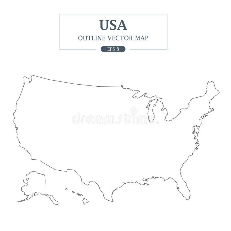 USA mapy kontur na białym tle ilustracja wektor