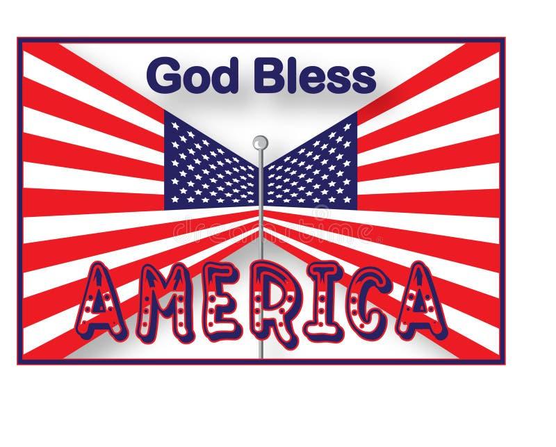 USA-Markierungsfahnen-Gott segnen Amerika vektor abbildung