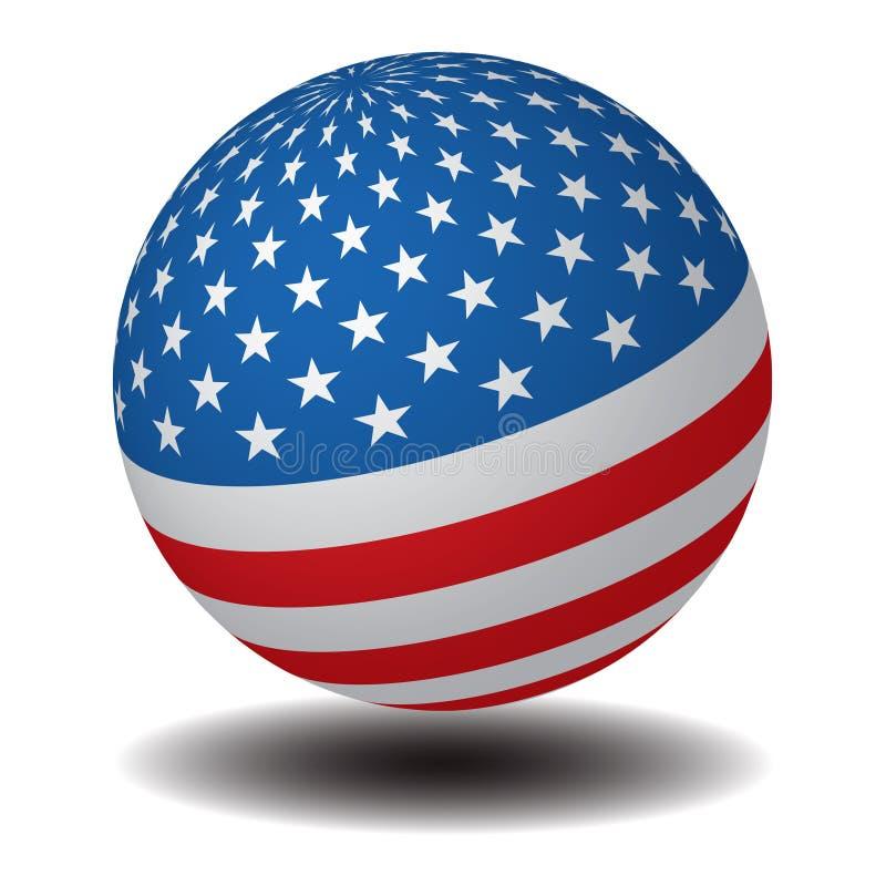 USA-Markierungsfahnen-Kugel lizenzfreie abbildung