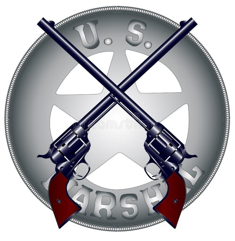 USA-marskalk Guns och emblem vektor illustrationer