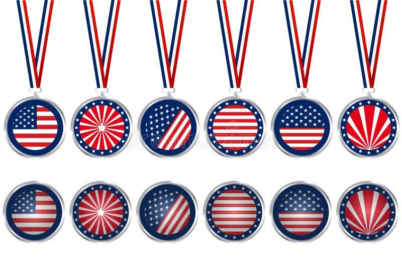 USA medaljer och knappar royaltyfri illustrationer