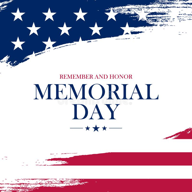 USA Memorial Day greeting card with brush stroke background in United States national flag colors. Vector illustration stock illustration