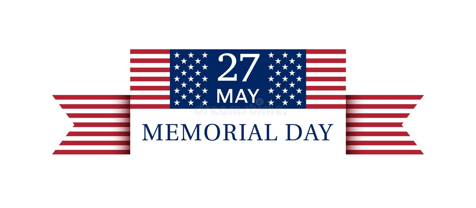 USA Memorial Day Poster May 27, 2019 stock illustration