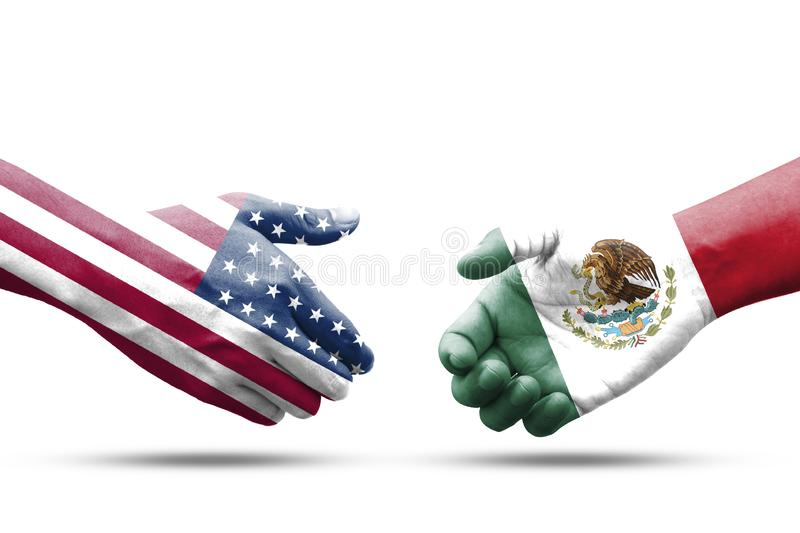 USA and Mexico flag print screen on handshake with white background.It is symbol of economic tariffs trade war and tax barrier stock images