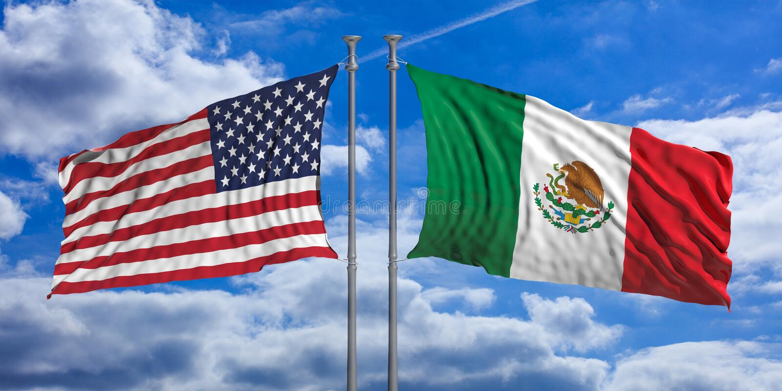 USA and Mexican waving opposite flags on blue sky background. 3d illustration royalty free illustration