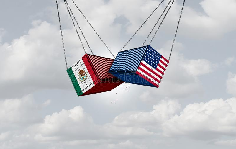 USA Mexico Trade War. And American tariffs as two opposing cargo freight containers in conflict as an economic dispute over import and export taxes concept as a royalty free illustration