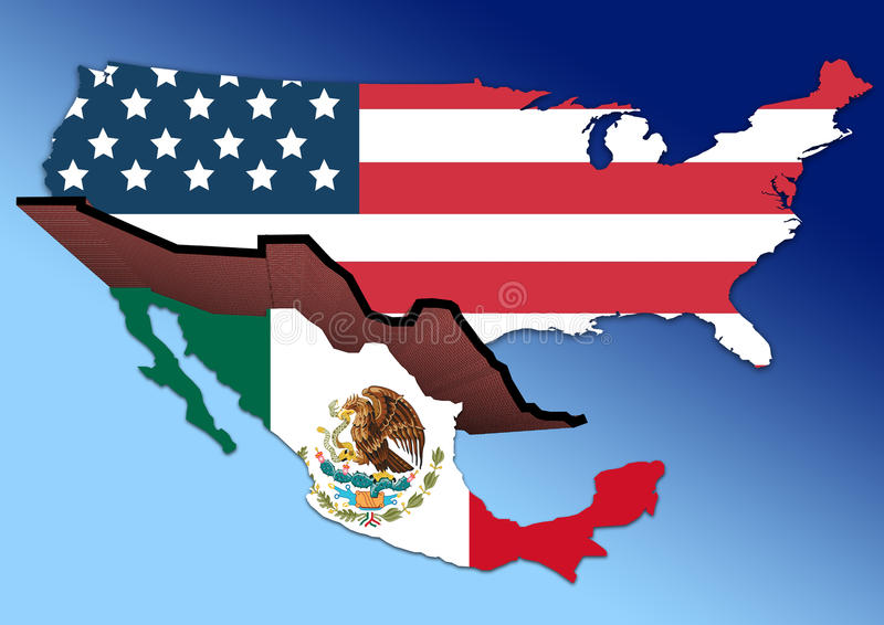 Download USA Mexico Wall stock illustration. Illustration of huge - 68500881