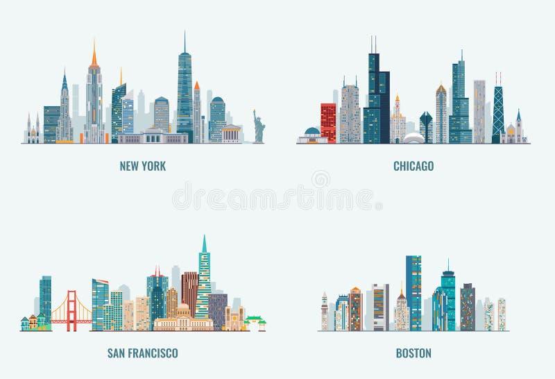 USA miast linia horyzontu ustawiający royalty ilustracja