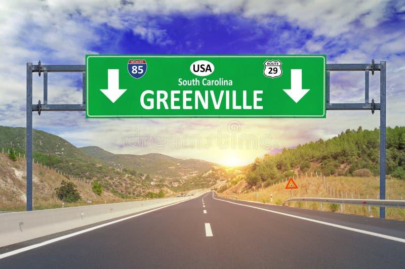 USA miasta Greenville drogowy znak na autostradzie fotografia royalty free