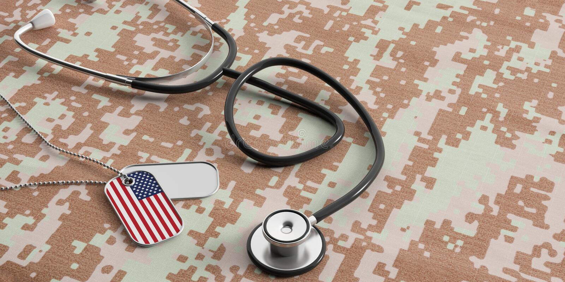 USA militär doktor Amerikanska flagganIDetiketter och stetoskop på digitalt kamouflagetyg illustration 3d royaltyfri illustrationer
