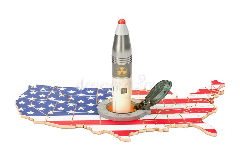 USA missile launches from its underground silo launch facility,. 3D stock illustration