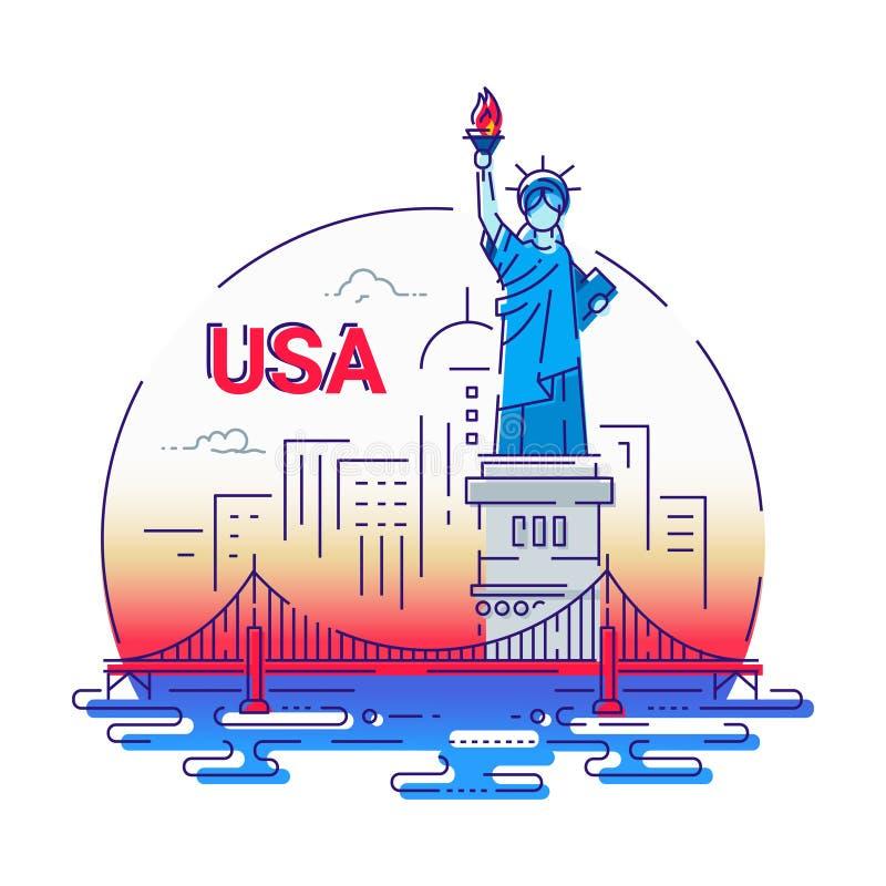 USA - modern vektorlinje loppillustration vektor illustrationer