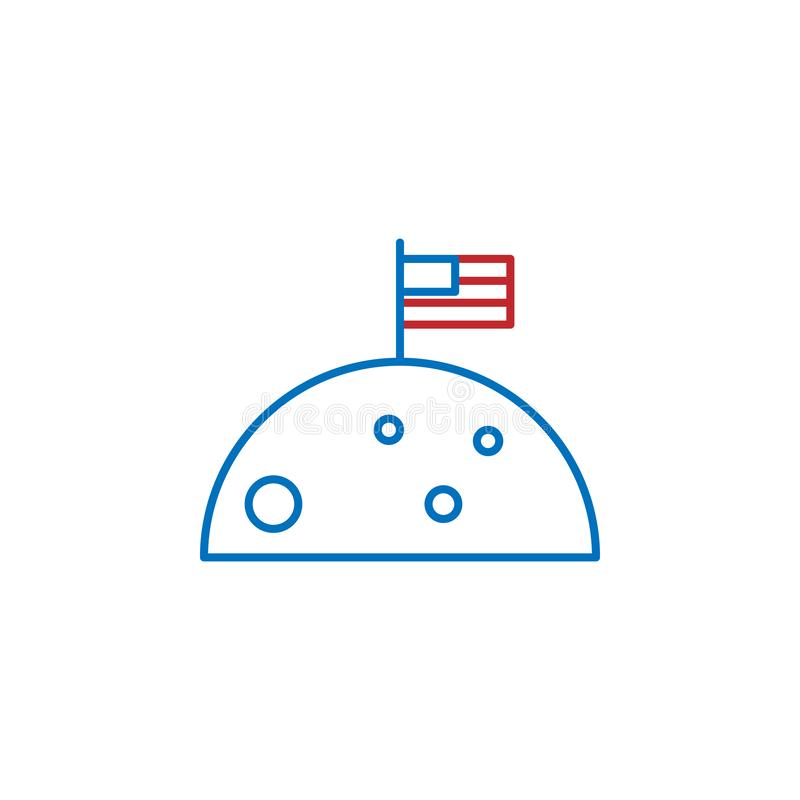 USA, moon icon. Element of USA culture icon. Thin line icon for website design and development, app development. Premium icon. On white background royalty free illustration